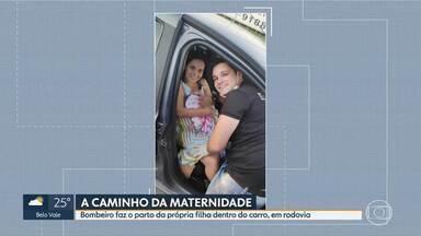 Bombeiro faz parto da própria filha, em Lagoa Santa - Menina nasceu dentro do carro, quando os pais seguiam para a maternidade.