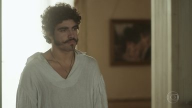 Pedro implora que Leopoldina o deixe entrar em seu quarto - Leopoldina percebe que o marido dormiu no corredor, mas não se comove. A princesa tem ideia para pagar parte das contas da corte