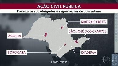 Justiça determina que municípios cumpram medidas de isolamento - Cinco cidades foram impedidas de relaxar a quarentena e não poderão reabrir serviços não essenciais