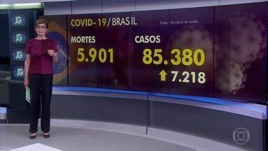 Brasil tem 5.901 mortes por coronavírus e 85 mil casos notificados - Em Brasília, o ministro Nelson Teich disse que governo já tem as diretrizes para flexibilização da quarentena nos estados e municípios prontas, mas que ainda não é o momento.