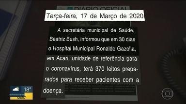 Rede pública está perto do limite da capacidade de atendimento - Secretaria municipal de saúde prometeu 370 leitos para o hospital Ronaldo Gazolla mas hoje só tem 226 leitos funcionando . Na rede estadual só há vagas no Zilda Arns e no Leblon