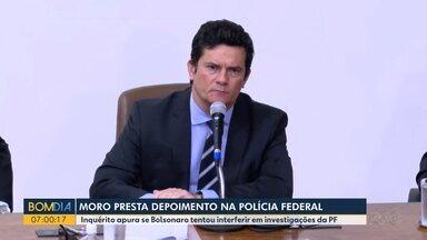 Moro presta depoimento da Polícia Federal - Inquérito apura se Bolsonaro tentou interferir em investigações da PF.
