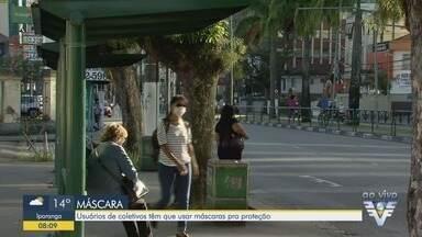 Uso de máscaras é obrigatório em Santos - Medida deve ser seguida, inclusive, dentro dos ônibus.