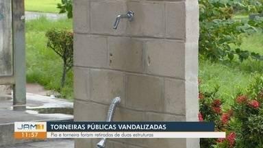 Em Manaus, torneiras públicas são vandalizadas - Algumas estruturas tiveram a pia e torneira retiradas.