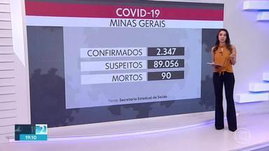 Minas Gerais registra 90 mortes por coronavírus - Outras 86 mortes são investigadas. Estado tem 2.347 casos confirmados e 89.056 casos suspeitos da doença.