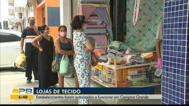 Funcionamento de lojas de tecidos é liberado, em Campina Grande - Motivo é estimular a produção de máscaras artesanais, caseiras ou profissionais, segundo a prefeitura. Segmento está autorizado a funcionar a partir desta segunda-feira (4).