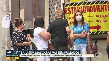 A partir do dia 15 de maio, quem for flagrado sem máscara será multado, em BH - Valor da multa é de R$80. Fiscalização será feita pela Guarda Civil Municipal.