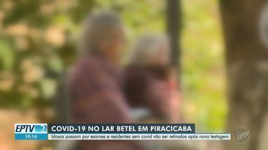 Idosos passam por exames e residentes sem Covid-19 são retirados de asilo em Piracicaba - Idosos que testaram positivo passam por exames para verificar estado de saúde, e residentes que testaram negativo estão sendo retirados do Lar Betel. Instituição tem oito mortes por Covid-19.