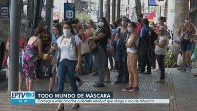 Começa a valer nesta quinta-feira (7) o decreto estadual que obriga o uso de máscaras - Quem descumprir a ordem poderá responder por infração de medida sanitária e crime de desobediência.