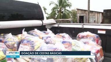 TRT destina quase R$ 30 mil a Ji-Paraná para auxílio no combate ao novo coronavírus - Uma das ações feitas com o recurso foi a distribuição de cestas básicas para famílias em situação de vulnerabilidade social na região.