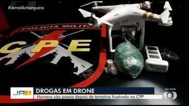 Homens tentam usar drones para levar drogas a presídio em Goiás - Polícia Militar viu o momento da chegada do aparelho, neutralizaram o equipamento.