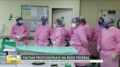 Faltam profissionais na rede federal de saúde no Rio de Janeiro - Governo autoriza contratar apenas metade do que seria necessário. Fiocruz defende que leitos sejam abertos mesmo sem respiradores.
