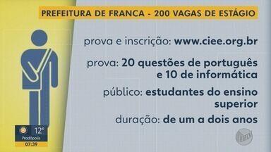Prefeitura de Franca, SP realiza processo seletivo para contratação de estagiários - No total são 200 vagas. Podem participar estudantes de diversas áreas matriculados no ensino superior.