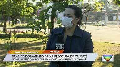 Taxa de isolamento baixa preocupa em Taubaté - Cidade registrou 4 mortes e 48 casos confirmados de Covid-19 até a manhã desta segunda-feira.
