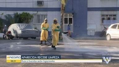 Limpeza e higienização são realizadas em Santos - Bairro da Aparecida recebe esse trabalho nesta segunda-feira.