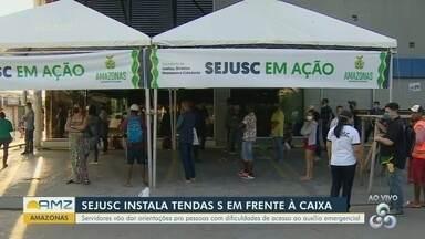 Sejusc monta tendas em frente as agências da Caixa Econômica Federal - Servidores vão dar orientações para pessoas com dificuldades de acesso ao auxílio emergencial.