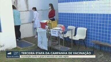 Região de Campinas inicia 3ª fase da vacinação contra a gripe nesta segunda-feira - Etapa prioriza crianças de seis meses a menores de seis anos, doentes crônicos e com outros quadros clínicos, gestantes e mulheres no pós-parto.