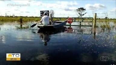 Produtores rurais estão ilhados após cheia do rio em Formoso do Araguaia - Produtores rurais estão ilhados após cheia do rio em Formoso do Araguaia