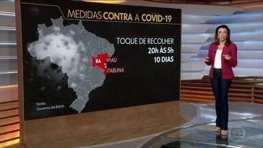 Veja algumas cidades que adotaram o toque de recolher contra o coronavírus - Itanuna e Ipiaú, na Bahia, a circulação de pessoas está proibida entre 20h e 05h. Em Buzios-RJ, o toque de recolher vai das 23h às 06h. Já em Campo Grande, a proibição vai de meia-noite até as 05h.