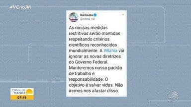 Governador Rui Costa afirma que a Bahia não vai seguir novas diretrizes do Governo Federal - Na segunda-feira (11), o presidente Jair Bolsonaro autorizou a reabertura de salões de beleza, barbearias e academias de ginástica.
