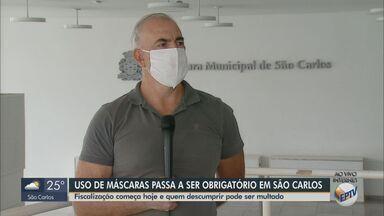 Uso de máscara passa a ser obrigatório em São Carlos - Fiscalização começa nesta terça-feira (12) e quem descumprir pode ser multado.