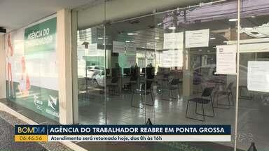 Agência do Trabalhador de Ponta Grossa reabre hoje - O atendimento ao público, seguindo todos os cuidados de prevenção ao Coronavírus, vai ser das 8h às 16h. Mas você pode continuar usando os canais digitais.
