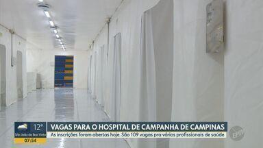 Campinas inicia contratação de profissionais da saúde para Hospital de Campanha - Inscrições são online e estão abertas a partir desta quarta (13). Ao todo, 103 oportunidades são oferecidas em dez cargos diferentes.