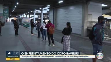 Transporte público é desafio para a necessidade de evitar aglomerações. - Acompanhe o movimento na Estação Vilarinho, em BH.