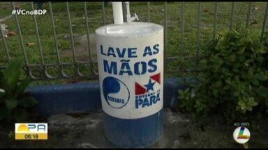 Cosanpa instala 52 pias em Belém - Projeto da Companhia de Saneamento do Pará visa facilitar a higienização das mãos da população nas ruas da capital paraense.