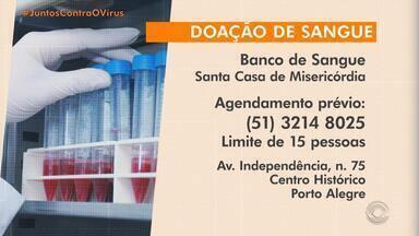 Santa Casa de Porto Alegre precisa de doações de sangue - Estoque estão baixos devido à queda no número de doadores durante a pandemia.