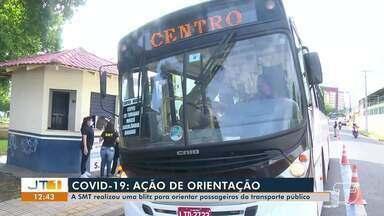 SMT realiza ação de orientação para passageiros do transporte público, em Santarém - Uso de máscara de proteção é obrigatório nas ruas.