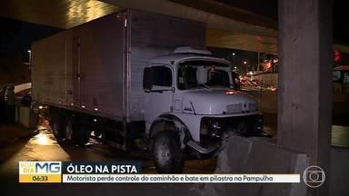 Caminhão bate em pilastra na Pampulha - Motorista teve ferimentos leves.