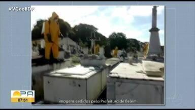 Cemitério Santa Izabel, em Belém, recebe ação de desinfecção - De acordo com a prefeitura, o trabalho de desinfecção é realizado diariamente em espaços públicos da cidade.