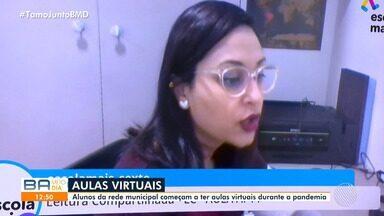 Alunos da rede municipal começam a ter aulas virtuais durante a pandemia da Covid-19 - Confira mais informações.