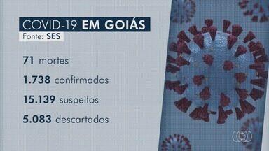 Coronavírus contamina 1.738 pessoas em Goiás, diz balanço da Secretaria de Saúde - Mortes chegam a 71. Pasta ainda investiga outros 15 mil casos suspeitos de Covid-19.