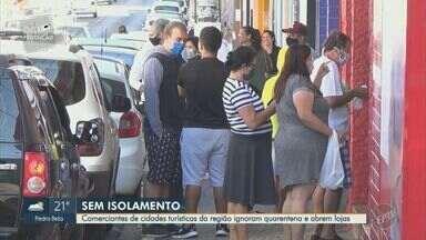 Comerciantes de cidades turísticas da região ignoram quarentena e abrem lojas - Mesmo com a piora da situação da pandemia no estado de São Paulo, alguns comércios abriram e continuam a funcionar normalmente.