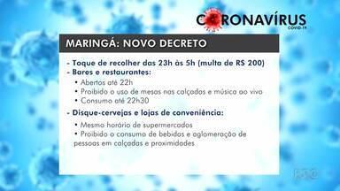 Maringá retoma toque de recolher - Prefeitura também estabeleceu multa para quem não usar máscara.