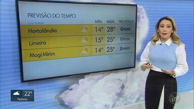 Região de Campinas tem tempo seco; veja previsão para esta quarta-feira (20) - Em Hortolândia (SP), mínima é de 14ºC e máxima de 28ºC.