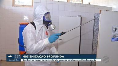 Espaços públicos são desinfectados em Rondonópolis - Espaços públicos são desinfectados em Rondonópolis
