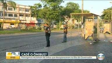 Passageiros reclamam de linhas de ônibus que desapareceram na Ilha do Governador - Usuários do sistema público de transporte relatam grande tempo de espera por ónibus e dizem que não houve qualquer notificação sobre a retirada de linhas.