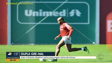 Dupla Gre-Nal adapta treinos às medidas de distanciamento social - Assista ao vídeo.