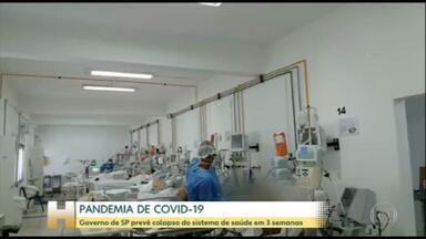 Coronavírus: Governo de SP prevê colapso do sistema de saúde em 3 semanas - Isso quer dizer que se a taxa de isolamento social não aumentar e o número de internações continuar no mesmo ritmo, São Paulo pode ficar sem vagas nos hospitais ainda na primeira quinzena de junho.