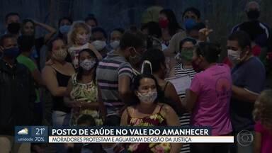 Moradores fazem protesto por posto de Saúde no Vale do Amanhecer - Obra começou, mas está parada por ordem judicial.