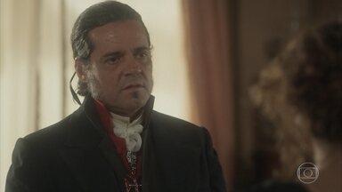Leopoldina diz a José Bonifácio que o admira - A princesa fica feliz com a chegada de José Bonifácio e diz que será bom que Pedro escute os conselhos dele