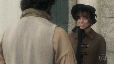 Matias leva Cecília ao convento - A filha de Sebastião espera o escravo sair para ir se encontrar com Libério