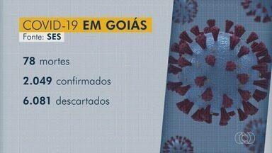 Goiás ultrapassa os 2 mil casos confirmados de coronavírus. - Já foram registradas 78 mortes pela Covid-19.