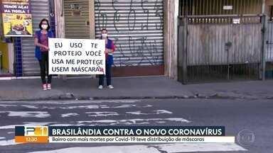 Prefeitura de Brasilândia faz nova ação para conscientizar moradores sobre coronavirus - Brasilândia é o distrito com maior número de óbitos e agentes de saúde fizeram ações para conscientizar população e distribuir máscaras.