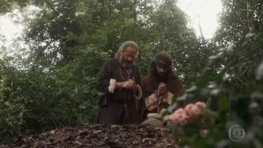 Ferdinando e Olinto rezam na mata - O padre incentiva o botânico a seguir sua pesquisa com as plantas. Ferdinando se lembra de um conselho dado por Letícia em um sonho