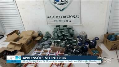 Seis pessoas são presas em Vitória do Mearim, suspeitas de desvio e roubo de carga - E em Zé Doca, polícia civíl fez uma apreensão de munição que estava sendo vendida ilegalmente na cidade.