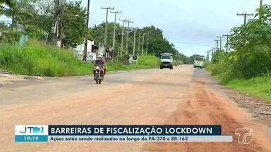 Policiamento tem sido realizado também na área rural de Santarém - Barreiras são para fiscalizar cumprimento de decretos.